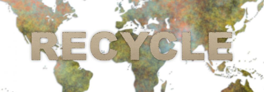 Recycle text with globe behind