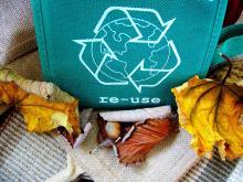 Reusable bag with recycling symbol