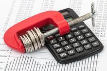Calculator, graph, coins