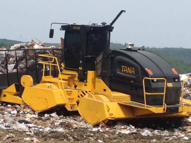 Heavy equipment working in landfill
