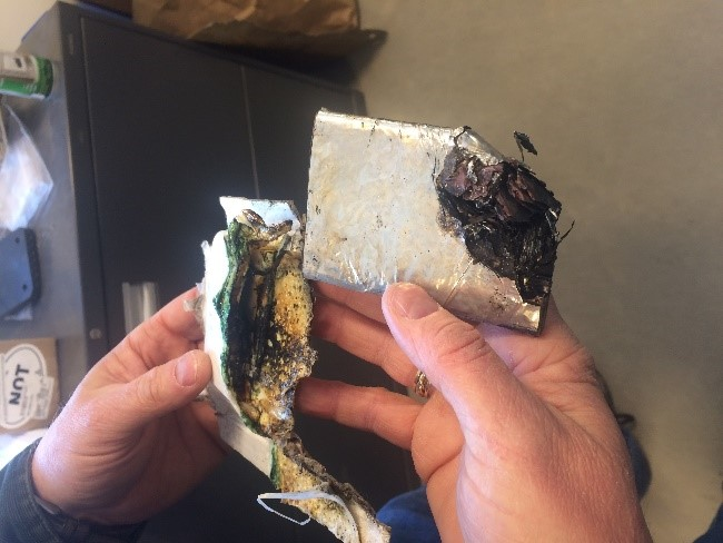 Damaged Battery from NH Facility